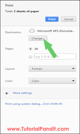 Change the Page Destination in Chrome Browser