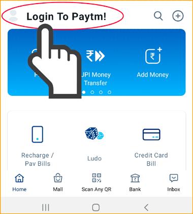 Tap on Login To Paytm