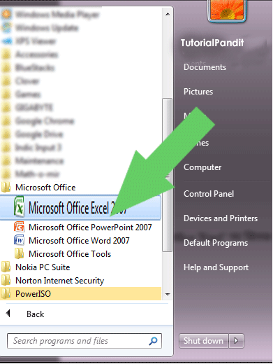 Select Microsoft Office Excel