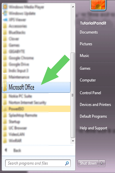 Windows All Programs Showing Microsoft Office Folder