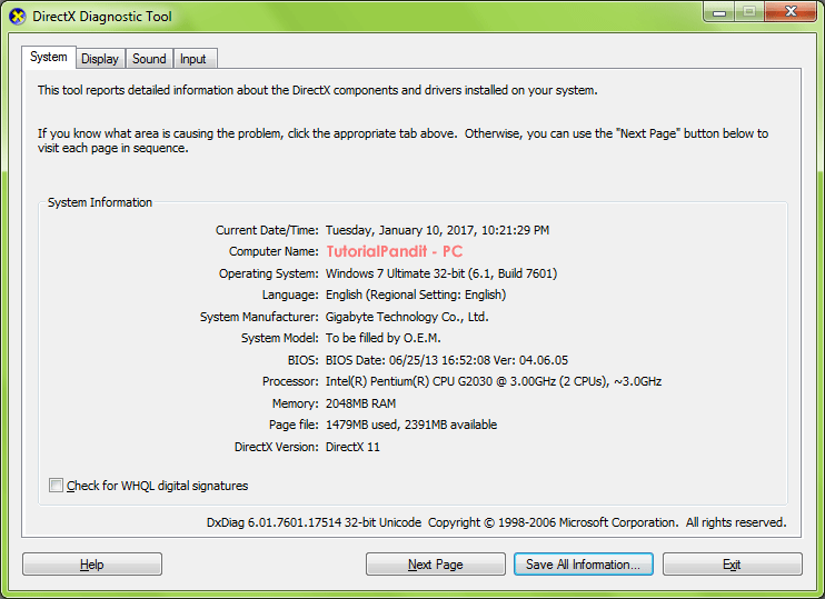 directX-diagnostic-tool