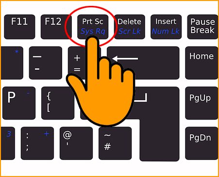 Pressing PrtScr Key in Keyboard to tak screenshot