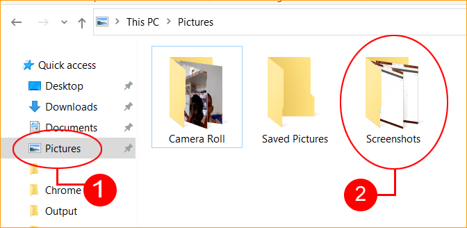 Screenshots Saved in Pictures Library in Computer