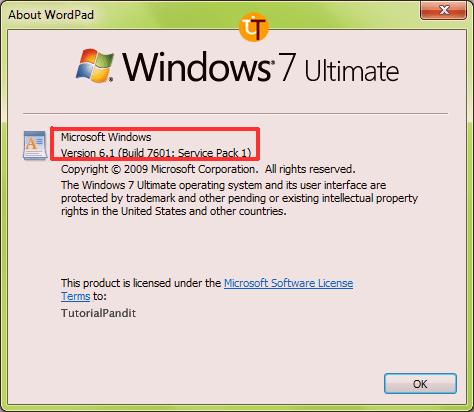 WordPad Version Window Showing Current Version of WordPad