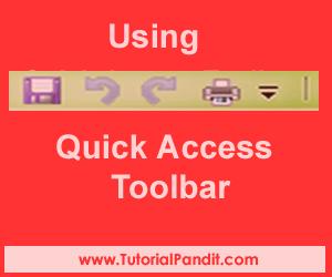 Using Quick Access Toolbar in Hindi