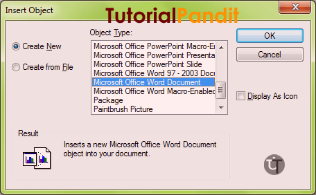 wordpad-insert-object-dialog-box