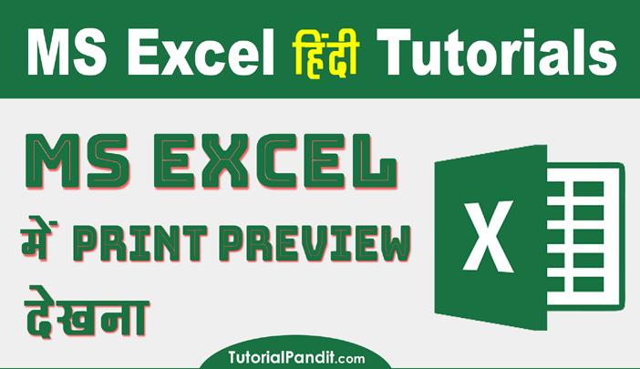 Print Preview Excel Workbook in Hindi