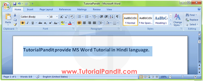 Selected Words in MS Word