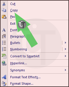 Context Menu in PowerPoint Slide