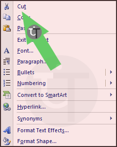 Context Menu Showing Cut in PowerPoint Slide