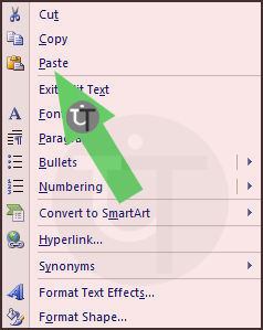 PowerPoint Context Menu of Mouse