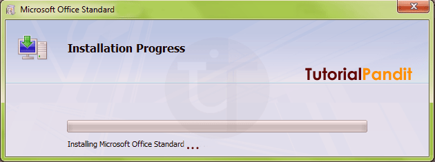 Installilng Progress of MS Office