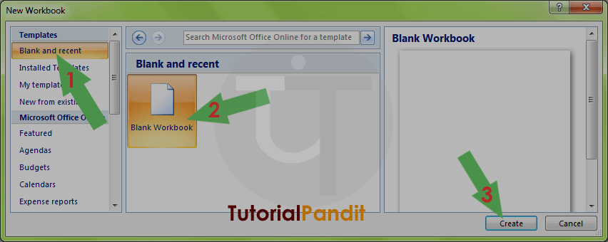 MS Excel New Workbook Template Dialog Box