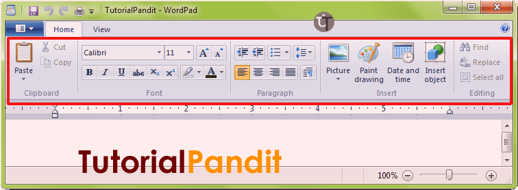 wordpad-home-tab
