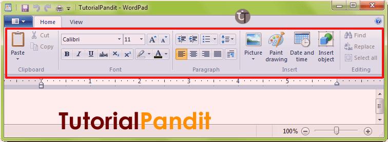 WordPad Home Tab