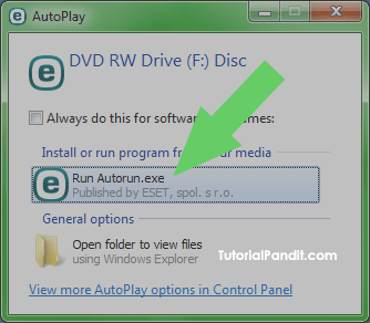 Selecting Autorun in AutoPlay Options
