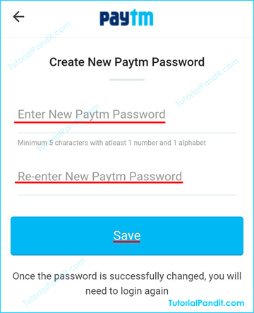 Paytm New Password Reset Form