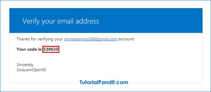 Swayam Email Verification Code.