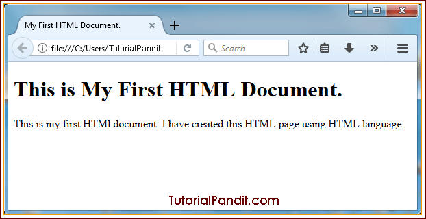 HTML Document in Browser.