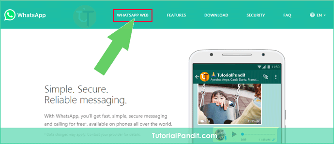 whatsapp homepage