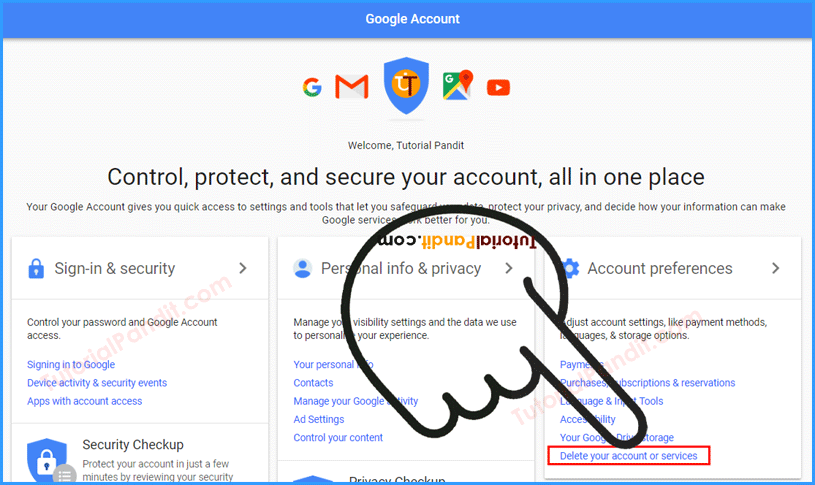 google account control dashboard