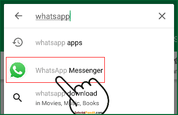 Search whatsapp in Play Store Search Bar