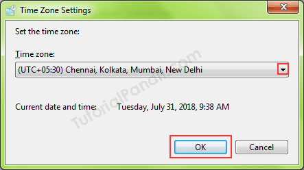 Change Time Zone of Computer Clock in Hindi
