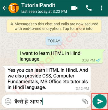 Type Your Message to Start Chat on WhatsApp in Hindi