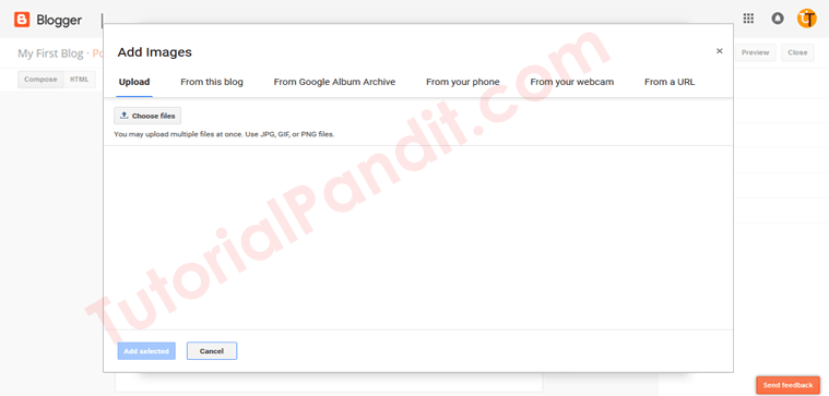 Add Image Window in Blogger Blog Post