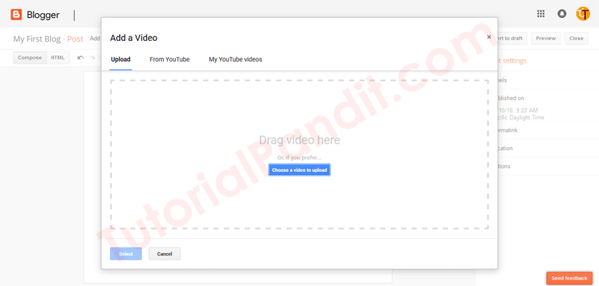 Blogger Add a Video Dialog Box