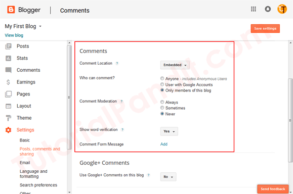 Blogger Blog Comments Management Settings