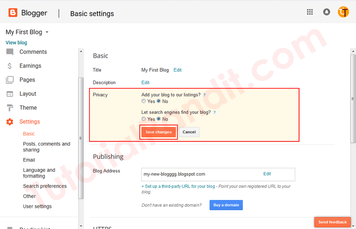 Edit Blogger Blog Privacy Settings