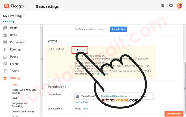 Blogger Blog HTTPS Settings