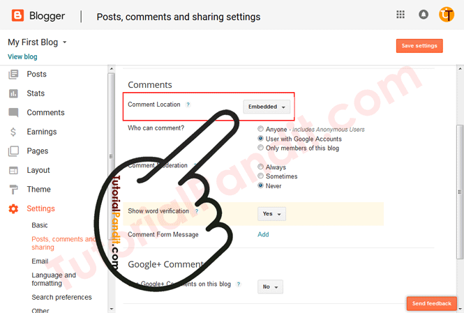 Blogger Blog Comments Location Settings