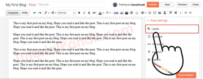 Blogger Blog Post Labels Settings