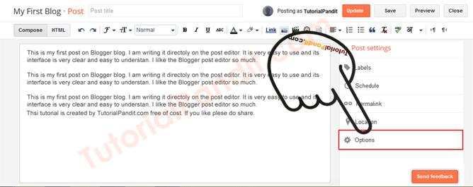Blogger Blog Post Options Settings