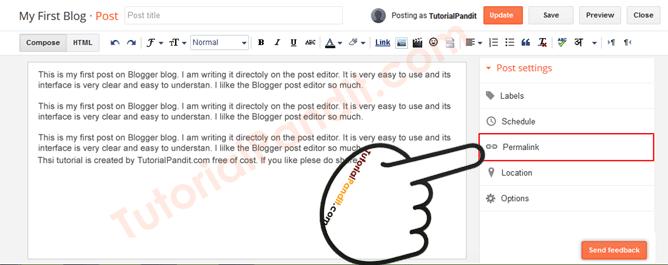 Blogger Blog Post URL Settings