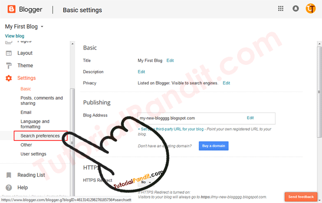 Blogger Blog Search Preferences Settings