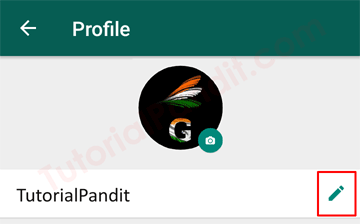 Tap on Pencil Icon to Change Profile Name