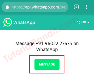 WhatsApp Click to Chat Message Tab