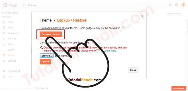 Download Blogger Blog Theme to Backup