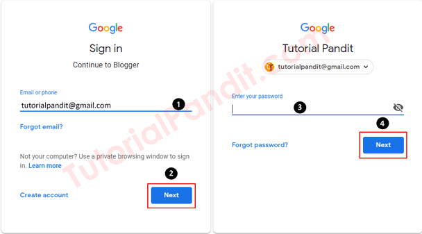 Enter Your Google ID and Password to Sign in Blogger