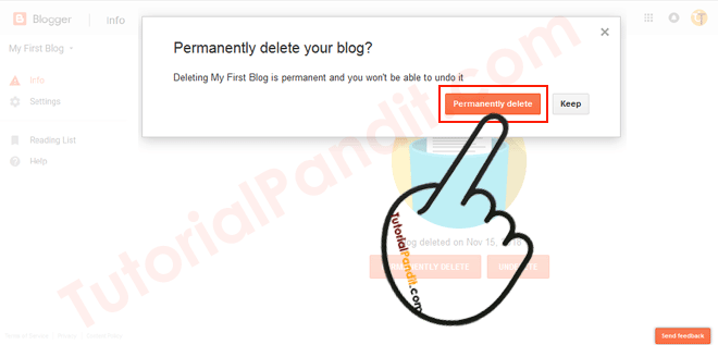 Confirm and Permanently Delete Your Blogger Blog