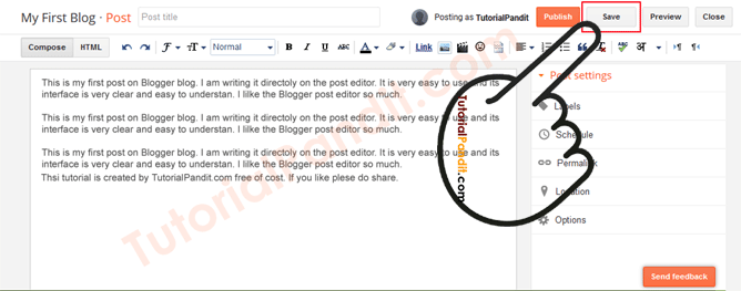 Click on Save Button to Save Post Draft in Blogger Blog