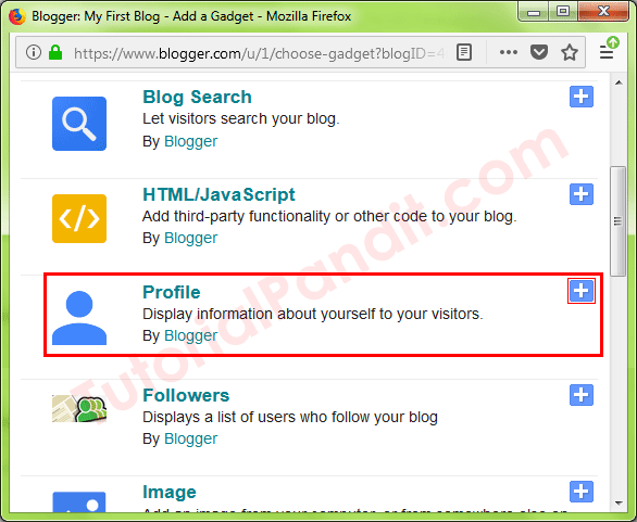 Select Profile Gadget to Show Author Profile on Blogger Blog