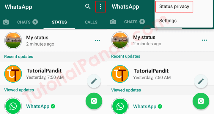 WhatsApp Status Privacy Settings