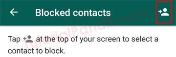 Tap on Contacts Icon to Select a Contact to Block