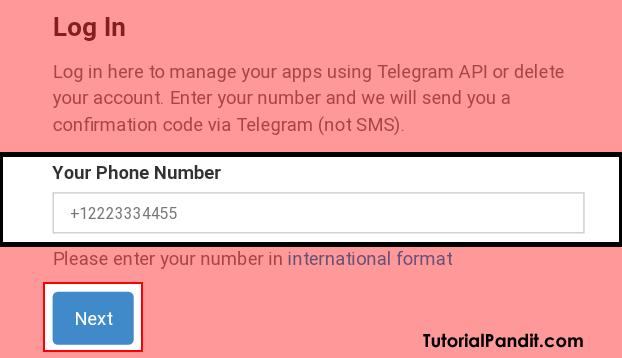 Enter Your Telegram Number to Login