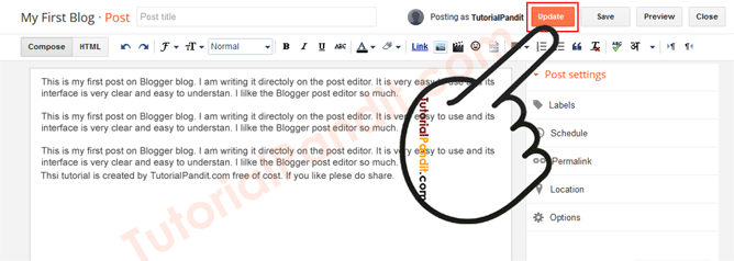 Click on Update to Update a Blogger Blog Post