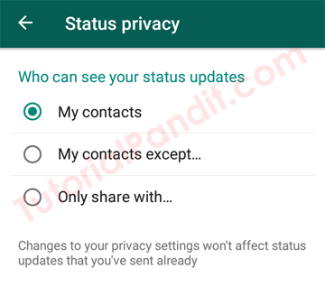 Choose Your WhatsApp Status Settings